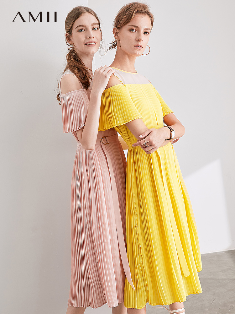 Amii Minimalist Mesh Lace Dresses Summer Women Loose Solid Round Neck Out With Belt Elegant Female Mid-length Dress 11970293