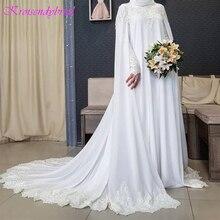 QFS110 New Muslim Long Sleeve with Cloak Lace Wedding Dresses Wedding Gown Bride Dress Vestidos De Noiva 2019 robe de mariage
