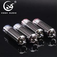 4Pcs/8Pcs/16Pcs Xssh Audio Rca Diy Hifi Koolstofvezel Rca Plug 10Mm Coaxiale digitale Audio Signaal Kabel Plug Jack Connector