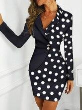 2019 Autumn Women Elegant Workwear Office OL Style Contrast Color Bodycon Dress Female Dot Print Colorblock Insert Mini Dress