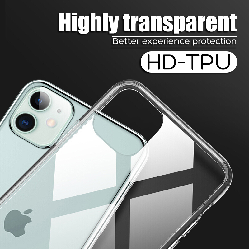 Shockproof For iPhone 11 Pro X XR Xs Max Case Transparent Phone Case For iPhone 6 6S 7 8 Plus Clear Solid Soft TPU Back Cover