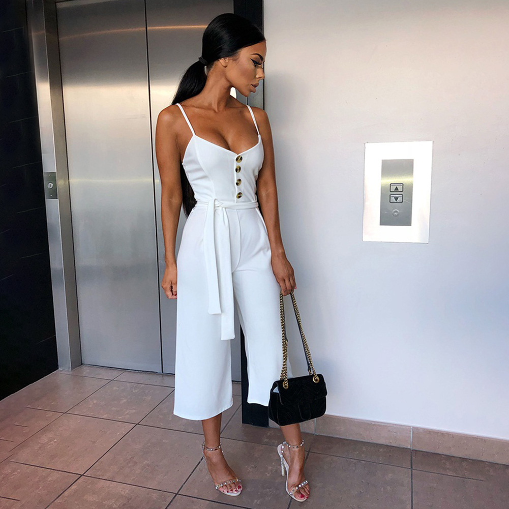 Ladies Casual Summer Long Pants Women   Jumpsuit   Trousers Decorative Buttons Sling Fashion Playsuit Solid Suspenders Sexy