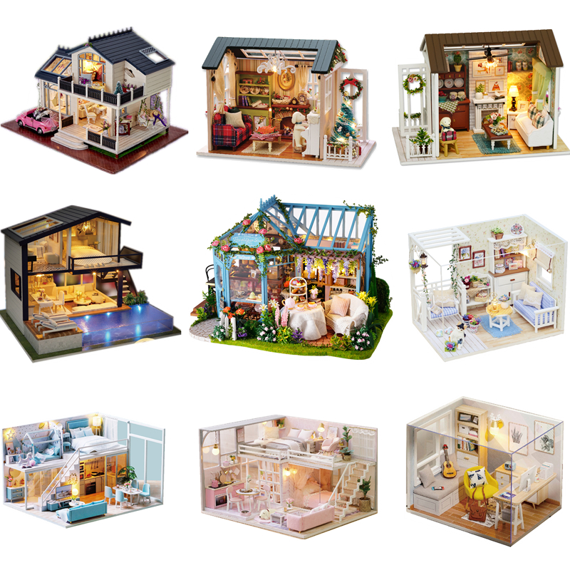 Dollhouse Lol Surprise Miniature DIY Wooden House Toy Furnitur Doll Accessories 3D Model Building Toy For Children Birthday Gift