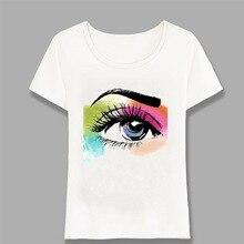 Eyelash Eyes Print T Shirt Women Short Sleeve O Neck Loose T