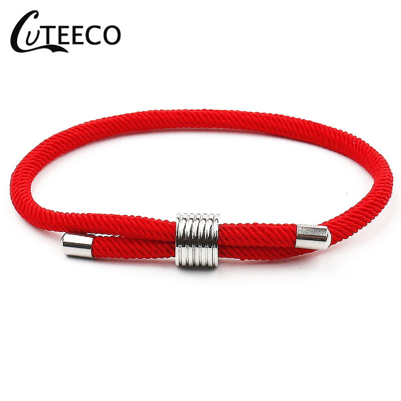 CUTEECO Lucky Bracelets Adjustable Handmade Red Rope Stainless Steel Couples For Women Men Fashion Jewelry