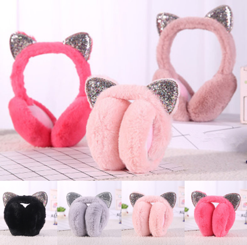 2020 Foldable Cat Ear Earmuffs Sequin Women Girl Fur Plush Ear Warmer Muffs Glitter Headband Cartoon 3D Earlap