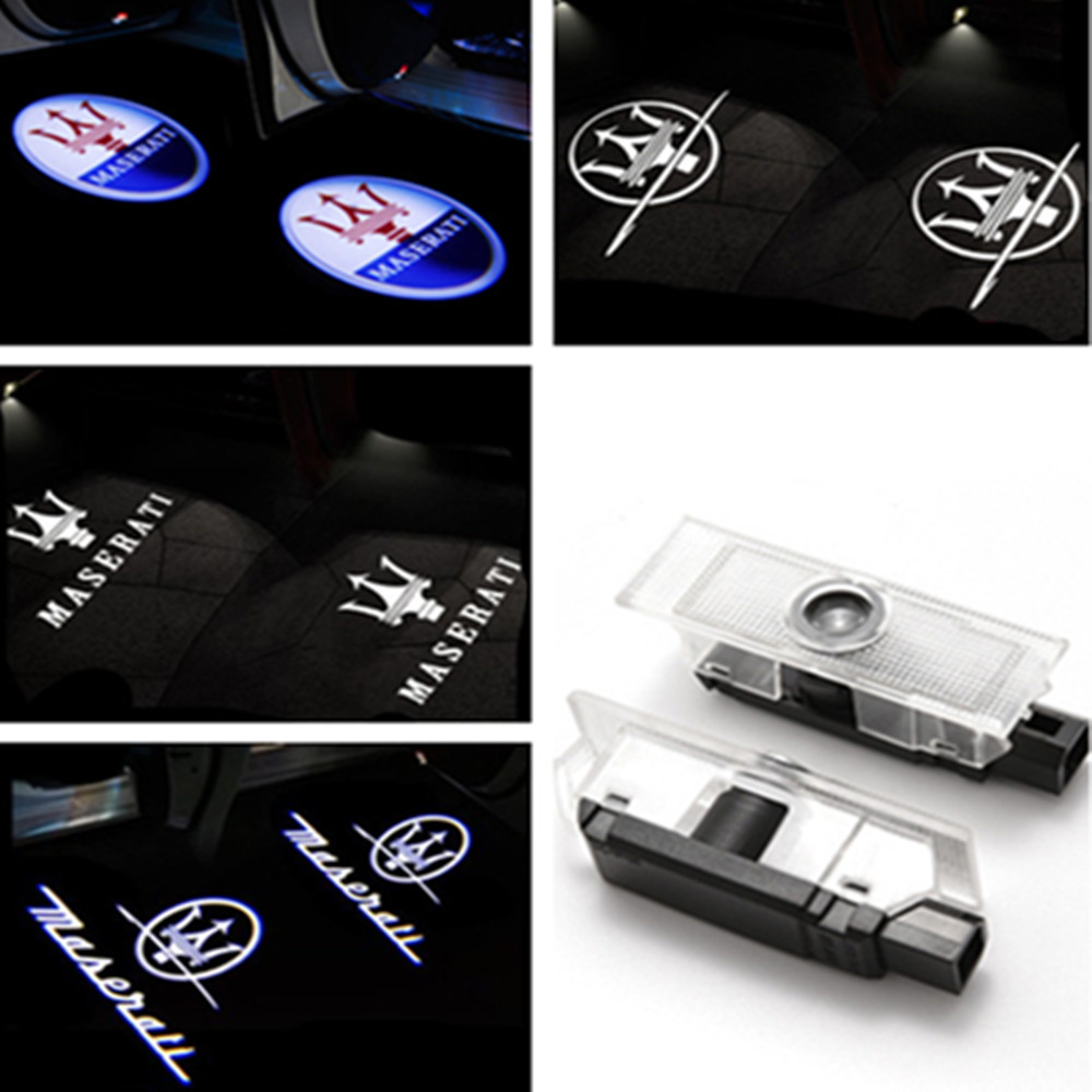 2x Car LED Door Logo Light Ghost Laser Shadow Projector Warning Lamp For Maserati Quattroporte Ghibli