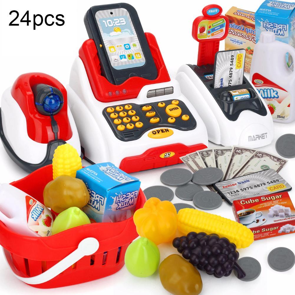 24Pcs/Set Kids Cash Register Toy LED Music Shop Cash Register Scanner Food Model Pretend Play Kids Educational Toy