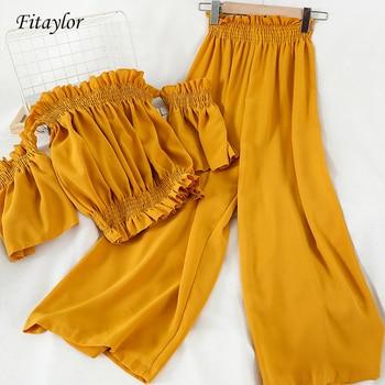 Fitaylor Korean Sexy Slash Neck Off Shoulder Short Shirts Sets Elastic High Waist Chiffon Ankle Length Pants 2 Piece Set Suits 1