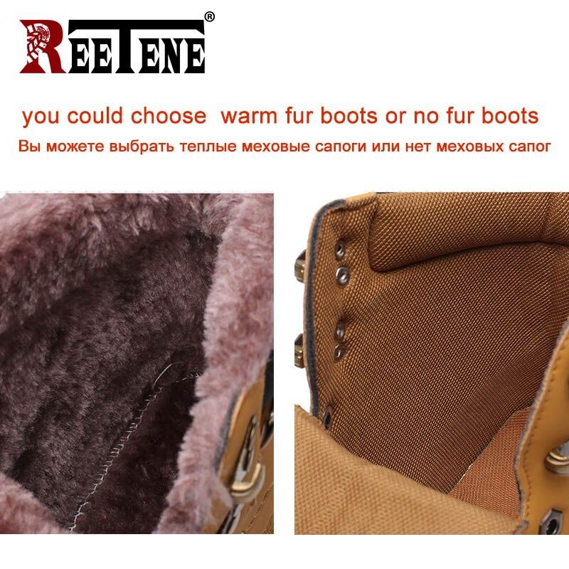 REETENE 2019 Men'S Winter Snow Boots Fur Ankle Boots Men Casual Shoes High Quality Plush Men Outdoor Work Shoes Plus Size 46 2