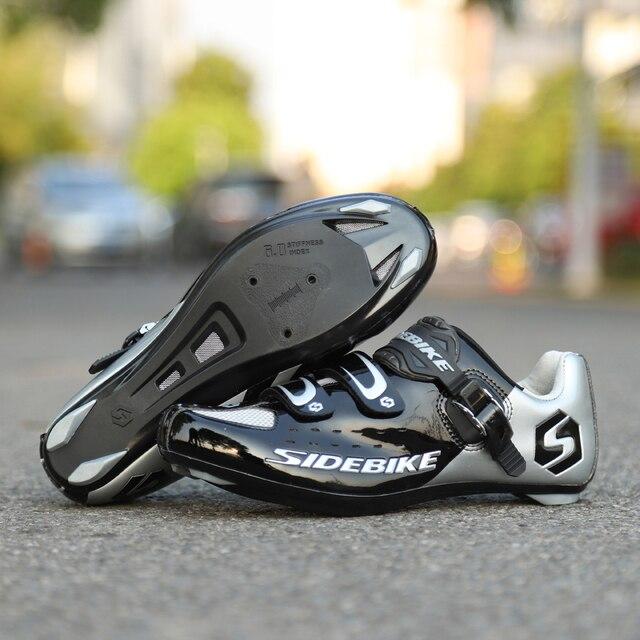Sidebike calçado de ciclismo de estrada masculino, sapato de bicicleta de corrida automática com fecho para atletismo e ultraleve, preto 3