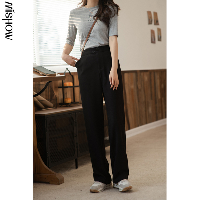 MISHOW 2020 Spring Pants For Women Elastic Solid High Waist Loose Straight Streetwear Fashion Female Trousers MX21A2673 3