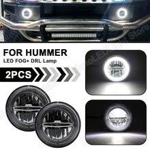 2 adet LED tampon sis farları Halo ön gündüz koşu lambası DRL işık montaj Hummer H2 2003 2004 2005 2006 2007 2008 2009