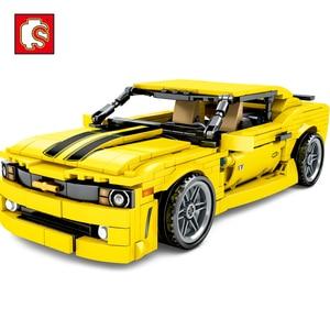 Image 1 - Sembo City Technic F1 sport Racer model klocki Mustang wyścigówka cegły dzieci zabawka edukacyjna prezent dla dzieci