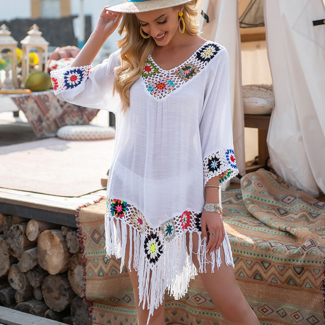 White Bikini Cover Up With Fringe Trim Women Sexy Hollow Tunic Beach Dress 2021 Summer Bathing Suit Beachwear 1