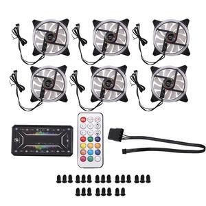 LED Fan Computer-Cooler 1-Controller Pc-Case Cooling Quiet Remote Adjust 6PCS