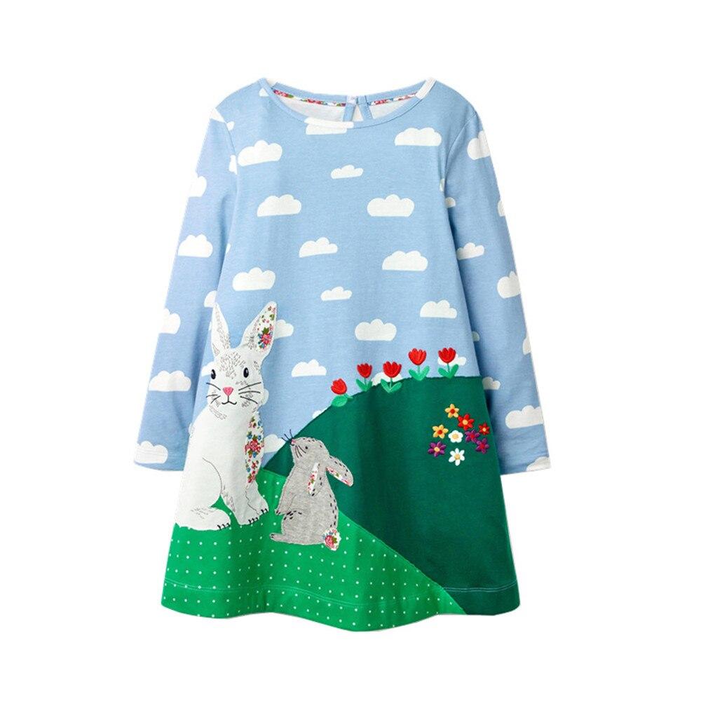 Jumping metros novos animais applique algodão vestidos de princesa com nuvens imprimir moda bebê manga longa festa meninas vestido crianças