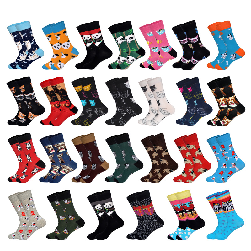 Ins Tide Autumn&Winter Korean Street Animal Cute Illustration Male And Female Couple Cotton Long Socks