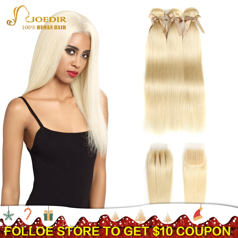 Joedir 613 Bundles With Closure Honey Blonde Human Hair Weave Bundles With Closure Peruvian Straight Hair Bundles With Closure