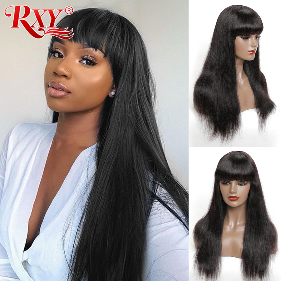 RXY Straight Human Hair Wigs With Bangs Machine Made Wig Cheap Human Hair Wigs For Women Machine -Made With Natural Look