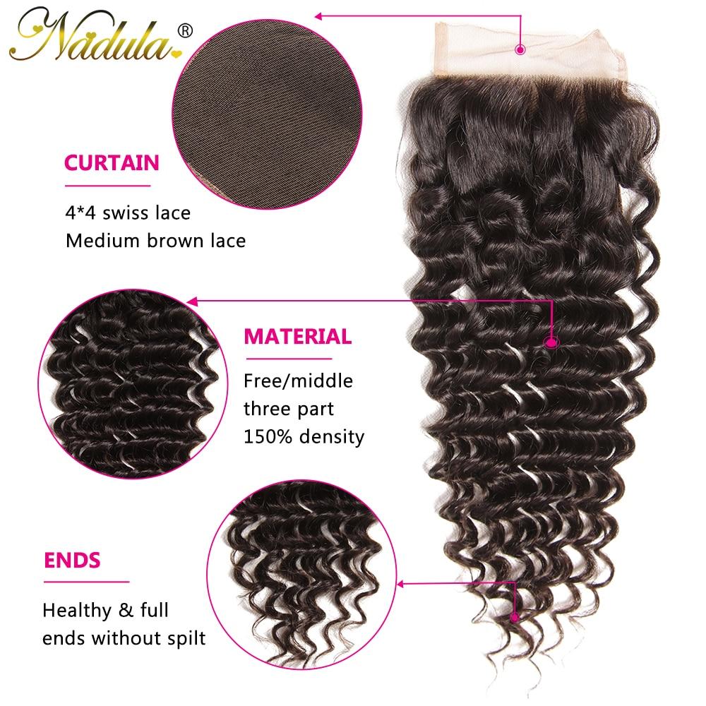 Nadula Hair  Deep Wave Closure 10-20inch  Hair s 4*4 Free Part Swiss Lace Closure  2