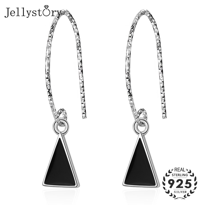 Jellystory Trendy 925 Sterling Silver Drop Earrings With Triangle Shape Obsidian Gemstones Earrings For Women Party Gift Jewelry