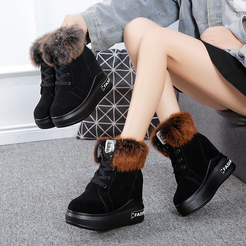 Height Increased Wedge Platform Winter Snow Boots Women Running Shoes Warm Plush Suede Non Slip Woman Sneakers Shoes Ankle Boot