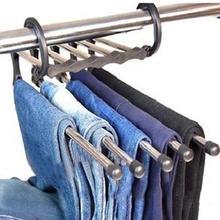 5-в-1 анти-скольжения одежда вешалка для брюк шкаф джинсы Выдвижной хранения Организатор