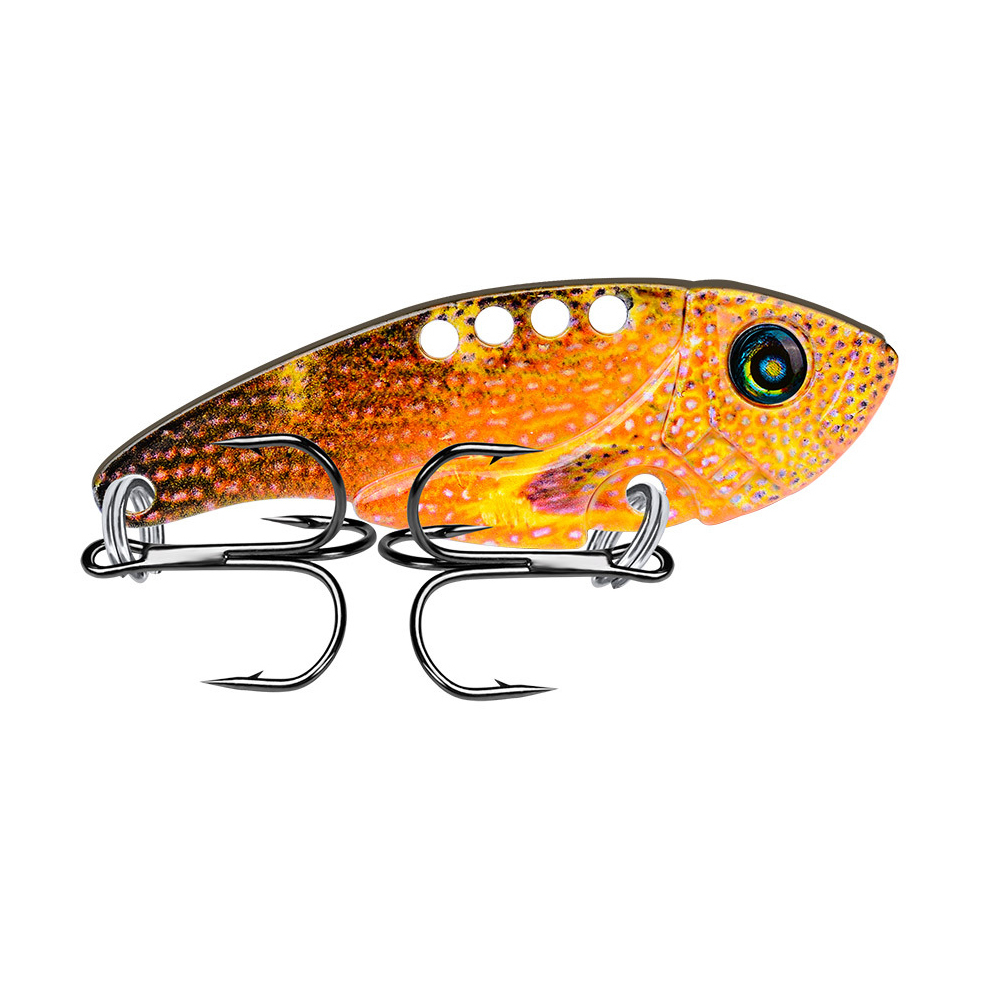1Pcs Metal VIB Lures 54mm 11g vivid Vibrations Spoon Lure Fishing bait Bass Artificial Hard Bait Cicada lure 3D Eyes