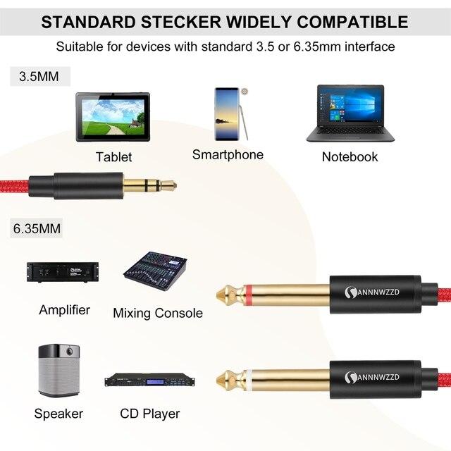 Cable de Audio de 3,5mm a 6,35mm doble Cable Aux 2 mono Jack 6,5 a 3,5 para mezclador altavoz amplificador 6,5 a 3,5 Jack Cable divisor