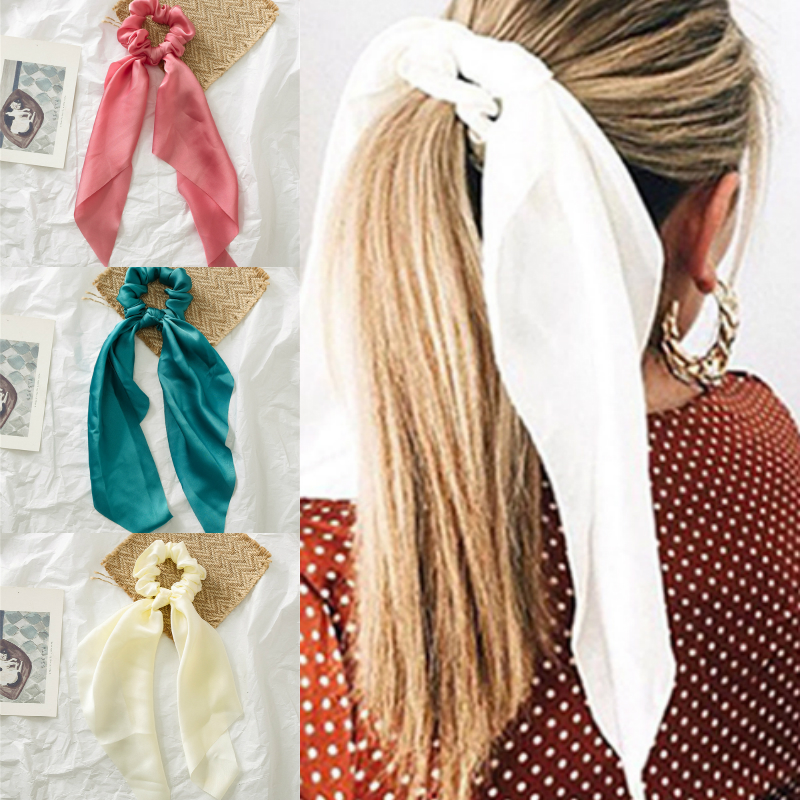 MINHIN Summer Ribbon Scrunchies Women Hair Scarf Elastic Hairband Bohemia Hair Rubber Ropes Horsetail Ties Hair Accessories