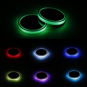 Image 4 - 2X Car LED Light Cup Holder Automotive Interior USB Colorful Atmosphere Lights Lamp Drink Holder Anti Slip Mat Auto Products