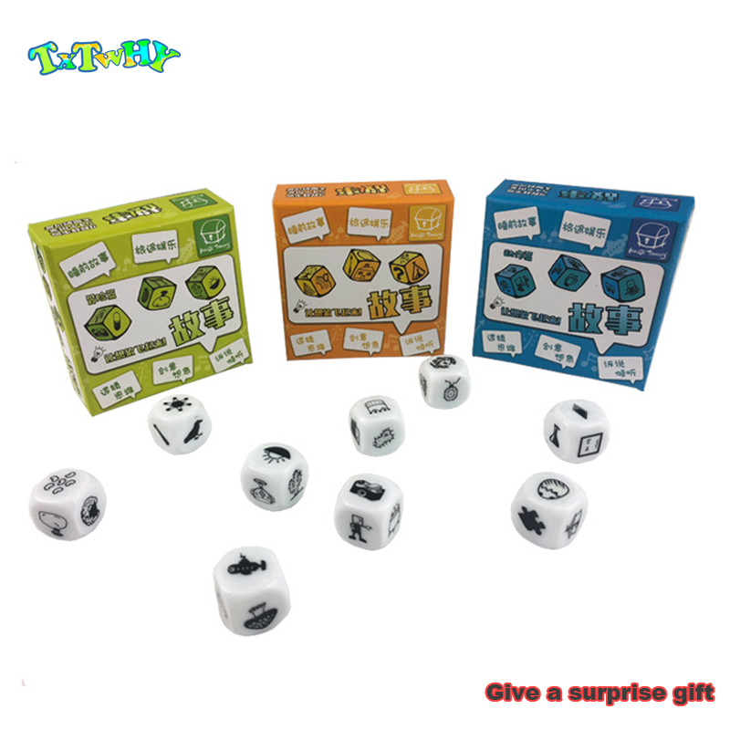 9 Pcs Dice Telling Story With Box Story Dice Cube Game English Instructions Family/Parents/Party Funny Imagine Magic Toys