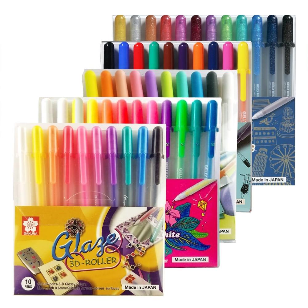 Japan Sakura Gel Pen Set Gelly Roll Basis/Bright/Highlight/Souffle/Glaze/ Stationary Drawing Pens Gel Ink Glitter Pen Decoration