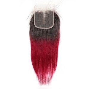 Image 5 - 1B 99J/pasma burgundowych ludzkich włosów z zamknięciem KEMY włosów brazylijski proste włosy typu Ombre splot wiązek z zamknięciem 4x4 nie Remy