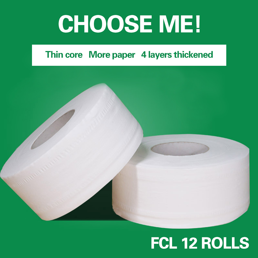 1 Roll Top Quality Jumbo Roll Toilet Paper 4-Layer Native Wood Toilet Paper Home Bath Rolling Papers Strong Water Absorption