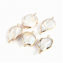 Irregular Natural Freshwater Pearl Shell Connector Fashion Jewelry DIY Bracelet Necklace Charms Making Supplies