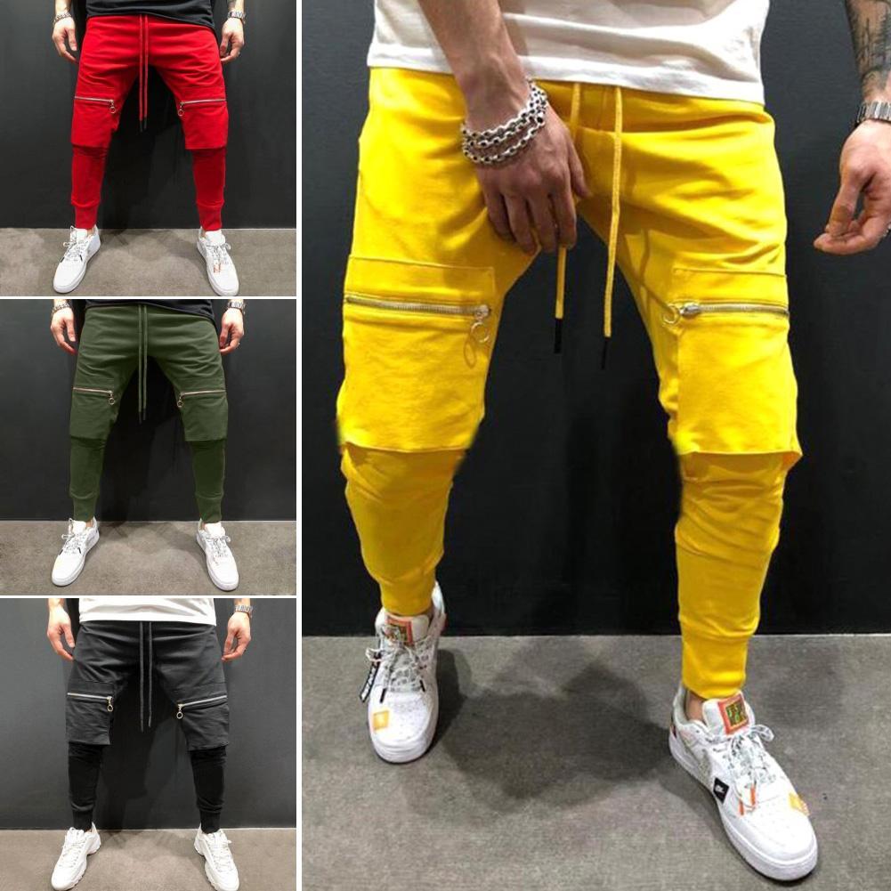 Men Solid Color Big Pockets Patchwork Hip Hop Long Pants Jogging Sports Trousers Breathable Quick Dry Army Men Pants