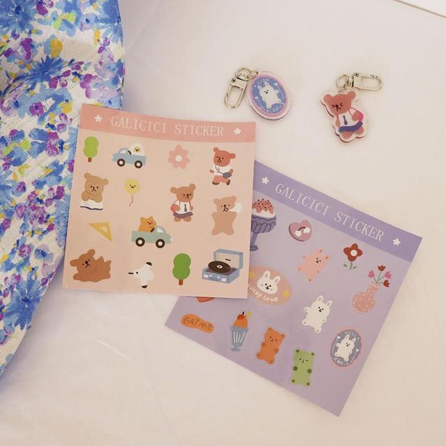 Corée mignon dessin animé lapin cartable ours autocollant album à faire soi-même heureux planificateur journal photo album papeterie jouet décoration autocollant