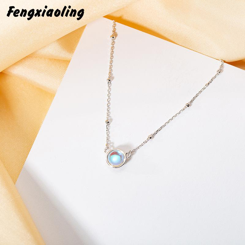 Gemei 2018 New Round Moonstone Necklaces & Pendants For Women Fashion 925 Sterling Silver Jewelry Clavicular Chain
