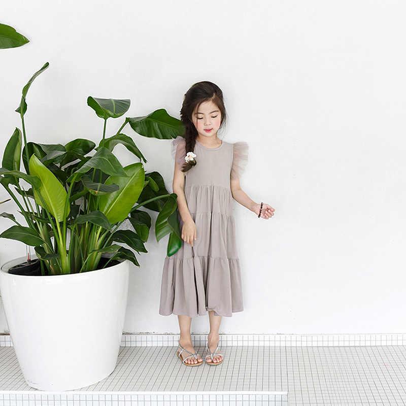 2020 새로운 여름 여자 드레스 한국 스타일 공주 파티 드레스 틴 에이저 메쉬 슬리브 패치 워크 케이크 드레스 귀여운 어린이 의류