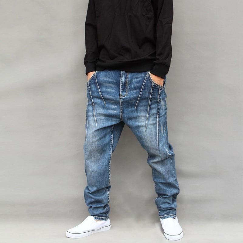 Hip Hop Style Mens Drop Crotch Jeans Harem Pants Plus Size 6XL Denim Pants Man Casual Streetwear Long Harajuku Loose Trousers