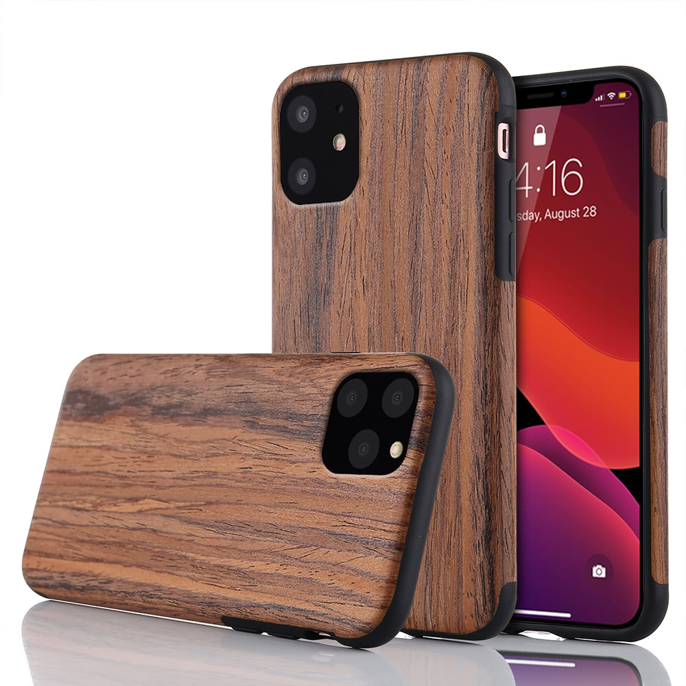 Slim Wood Grain Silicon Glitter Bumper Cover Wooden Case for iPhone 12 Pro Max 1