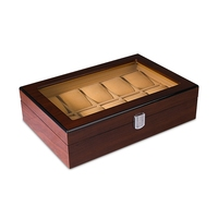 Grids Retro Wooden Watch Display Case Durable Packaging Holder Jewelry Collection Storage Watch Organizer Box Casket 10 Grid