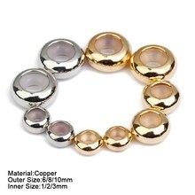 20 pçs cobre contas 6mm 8mm 10mm rolha espaçador contas com silicone borracha apto slider pulseira diy jóias fazendo descobertas