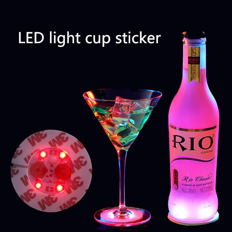 Colorful Flash Wine Bottle Stickers LED Light Cup Stickers 4 Lights Colorful LED Coasters Bar Holiday Decoration LED Night Light