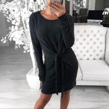 Womens Long Sleeve Solid Dress Ladies Spring Front Bow Knot Slim Fit Dress Autumn Woman Crew Neck Bodycon Mini Dress Plus Size plus flower applique knot bell sleeve bardot dress