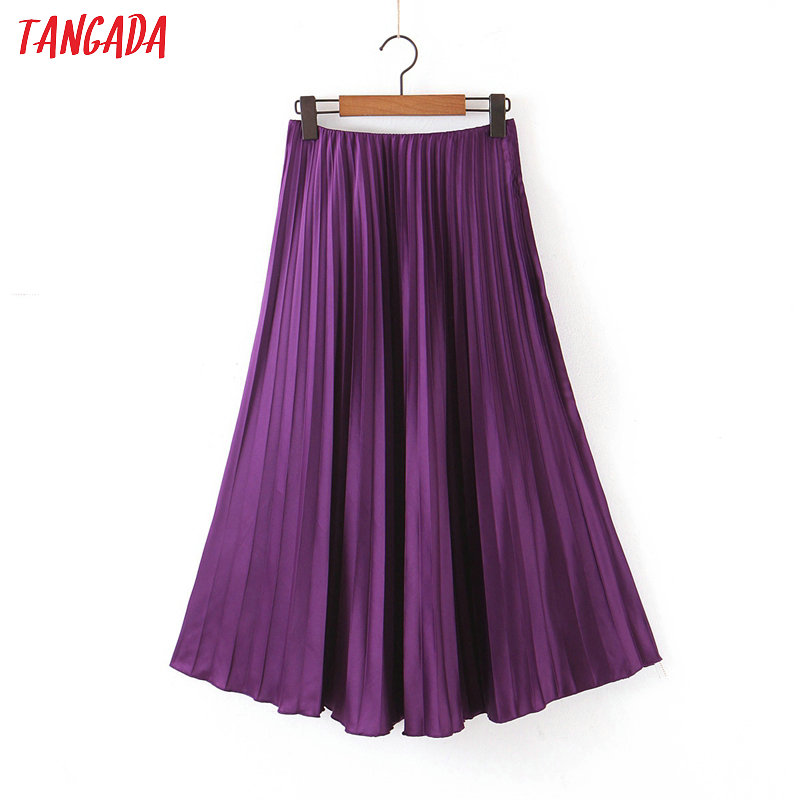 Tangada Women Purple Pleated Midi Skirt Faldas Mujer Vintage Office Ladies Elegant Chic Mid Calf Skirts SL196