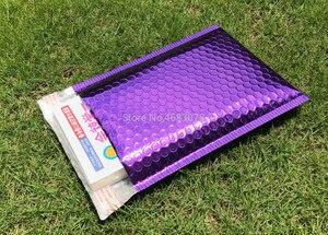 Image 5 - Sobres de correo impermeables con bolsa de burbuja de color púrpura polivinílico, 25 uds., bolsa de regalo de superficie brillante para cumpleaños, 18x23cm + 4cm
