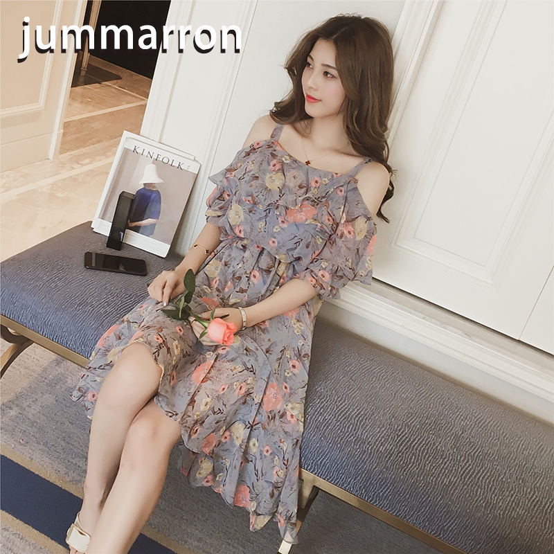 jummarron 2020 new Summer <font><b>dresses</b></font> Casual Sweet halter top floral women <font><b>dress</b></font> with long off-the-shoulder vacations slash neck image